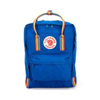 Рюкзак Канкен синий с радужными ручками спереди 2