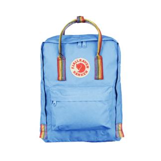 Рюкзак Канкен голубой с радужными ручками спереди