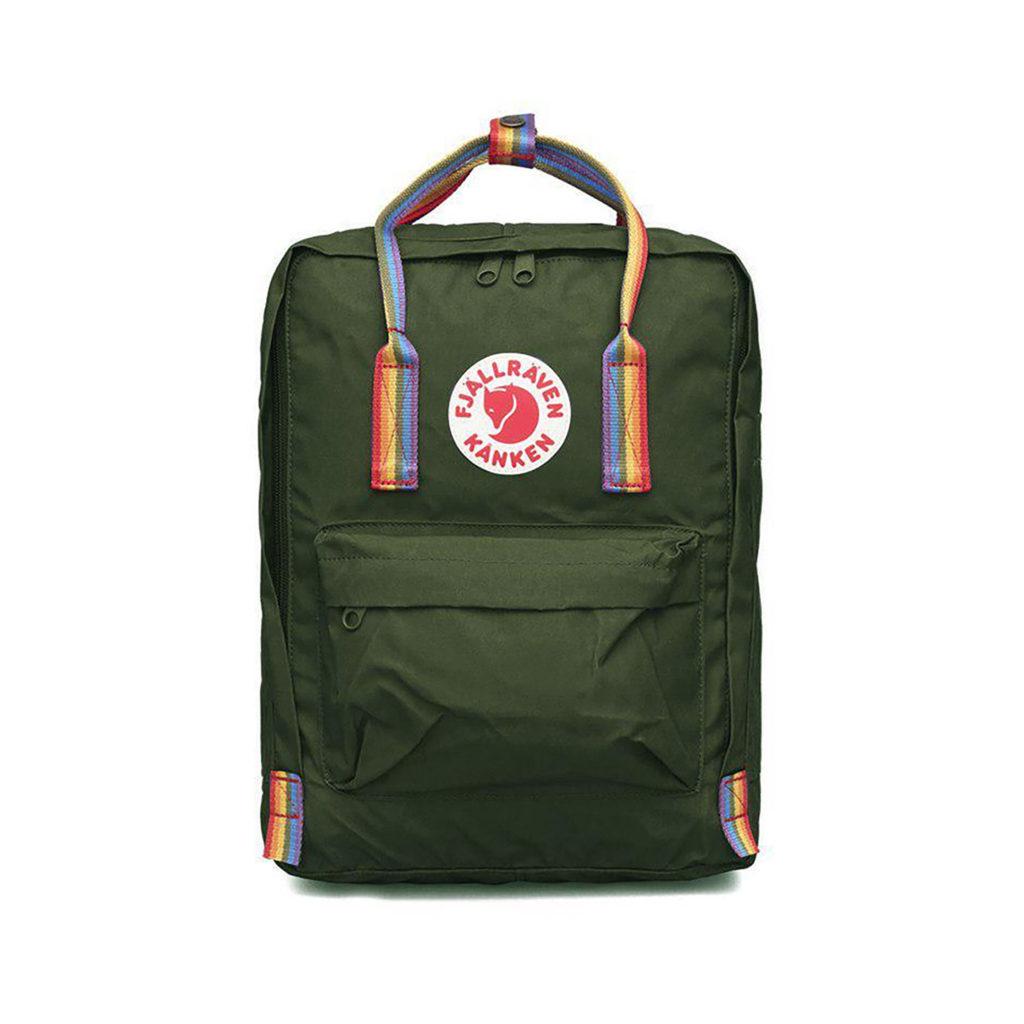 Рюкзак Канкен зеленый с радужными ручками спереди
