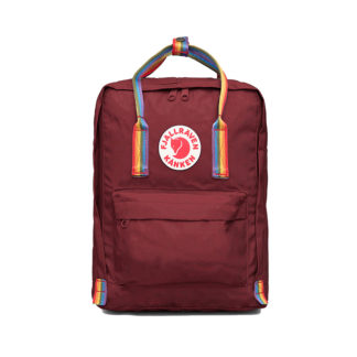 Рюкзак Канкен бордовый с радужными ручками спереди