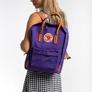 Рюкзак Канкен фиолетовый с радужными ручками на модели
