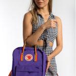Рюкзак Канкен фиолетовый с радужными ручками на девушке