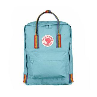Рюкзак Канкен голубой с радужными ручками спереди 2