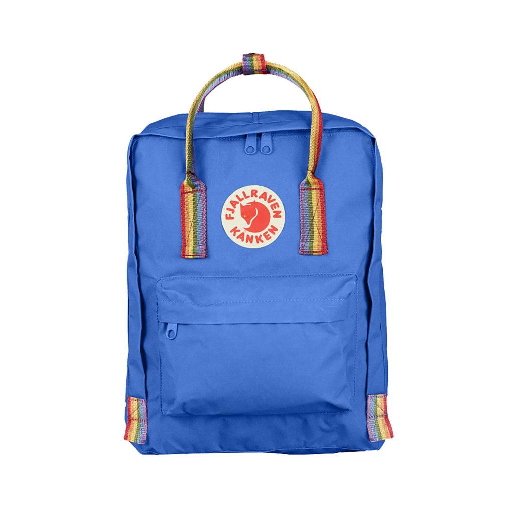 Рюкзак Канкен синий с радужными ручками спереди