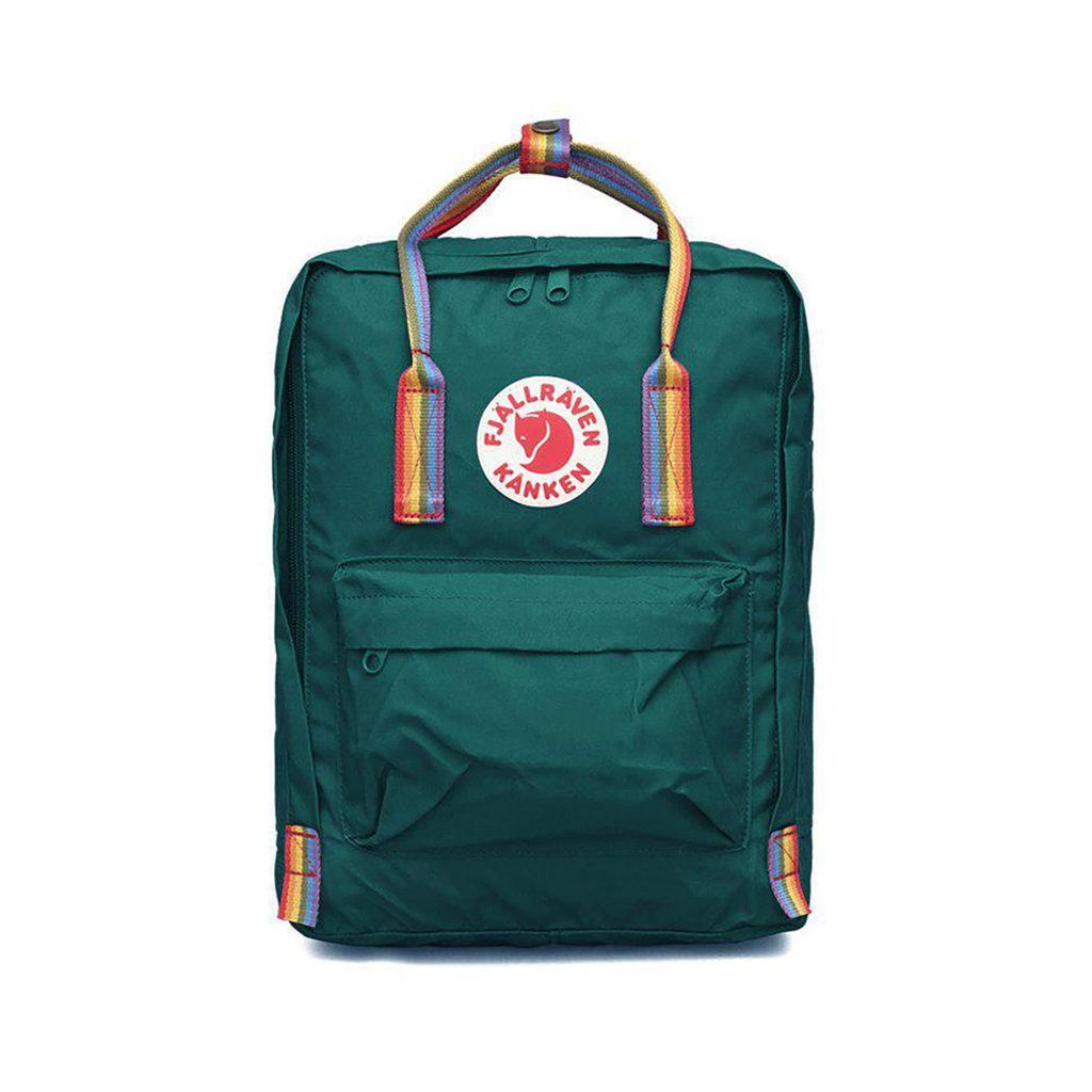 Рюкзак Канкен зеленый с радужными ручками спереди 2