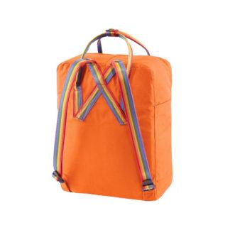Оранжевый рюкзак Канкен с радужными ручками сзади