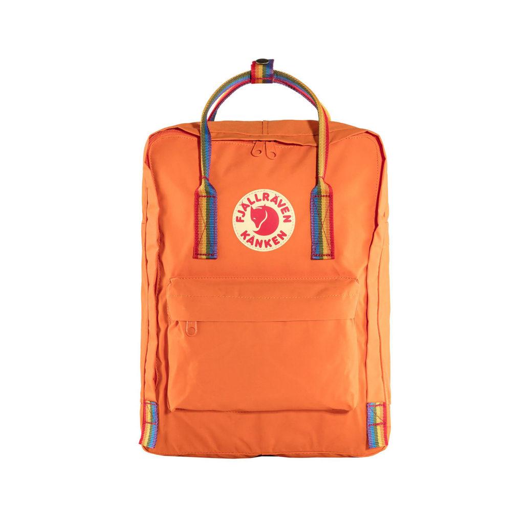 Оранжевый рюкзак Канкен с радужными ручками спереди