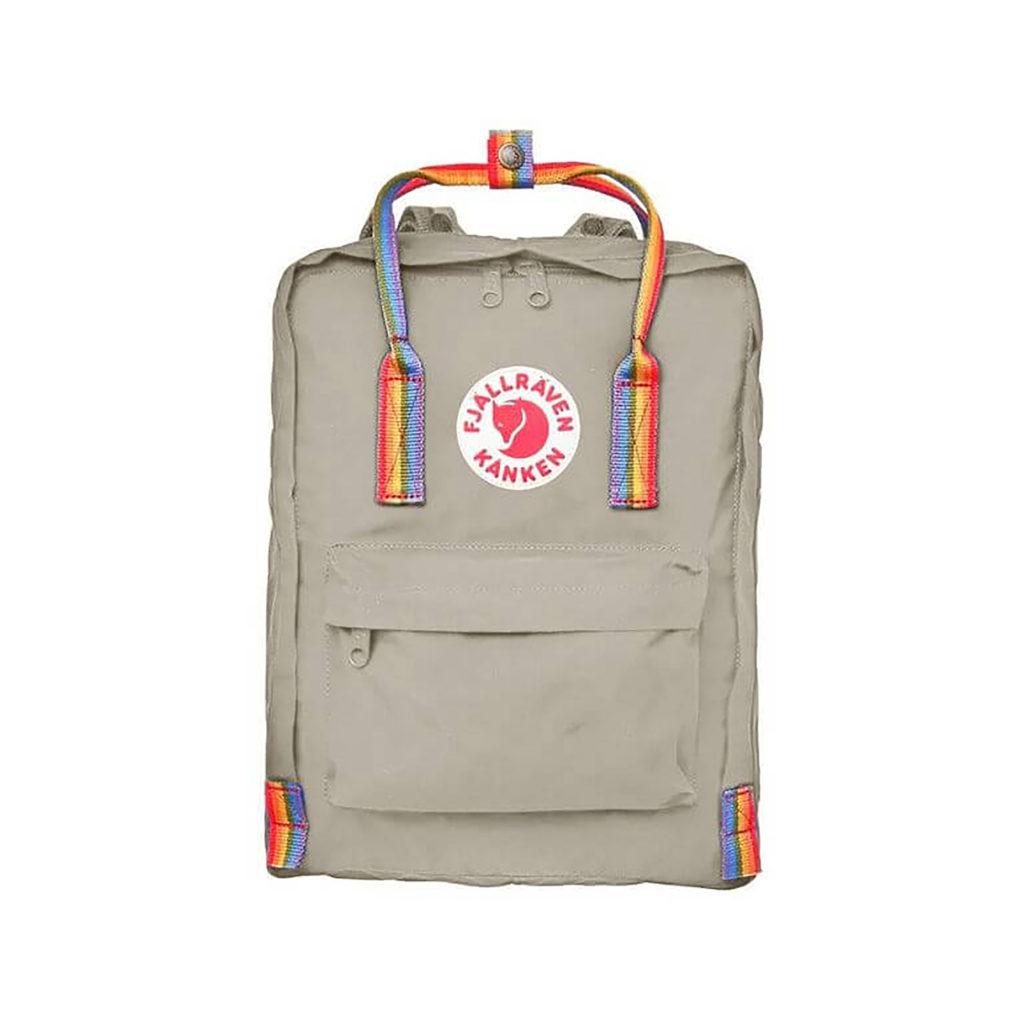 Серый рюкзак Канкен с радужными ручками спереди