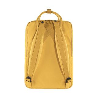 Желтый рюкзак Канкен Лаптоп с розовыми ручками сзади 2