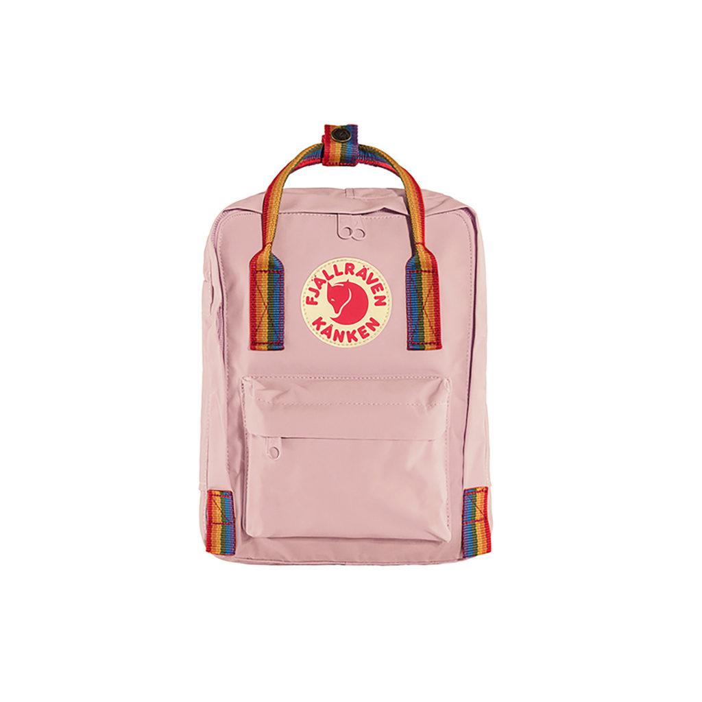 Маленький розовый рюкзак Канкен с радужными ручками спереди