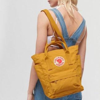 Желтая сумка Канкен на модели
